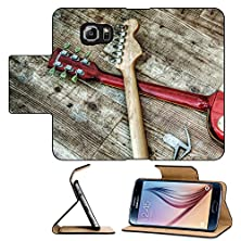 buy Luxlady Premium Samsung Galaxy S6 Flip Pu Leather Wallet Case Two Electric Guitars And Headphones In Hdr Tone Mapping Effect Image 38347665