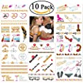 NUOLUX Bachelorette Party Tattoos Metallic Bachelorette Tattoos 10 sheet