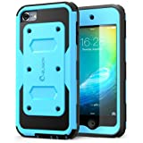 i-Blason Armorbox Series Case Designed for iPod Touch 6th Generation, [Heave Duty] [Dual Layer] Hybrid Full body Case with Front Cover and Built-in Screen Protector / Impact Resistant Bumper (Blue) (Color: Blue)