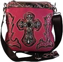 Montana West Cross Body Bag Faux Leather Purse Cross Camo Handbag Hot Pink