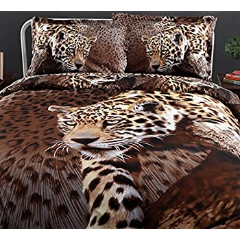 Beddinginn 4 Pieces 3d 100% Cotton Bedding Sets Sexy Leopard Cheetah Animal Print Duvet Cover Set,Bed Fashion (King)