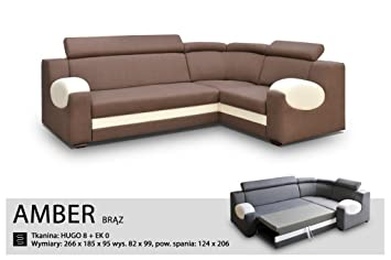 UNIVERSAL HAND CORNER SOFA BED - AMBER BROWN- FABRIC & FAUX LEATHER 266x185CM (266 CM, BROWN)