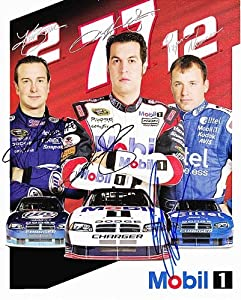 Buy *3X AUTOGRAPHEDKurt Busch Ryan Newman Sam Hornish Jr. 2008 PENSKE RACING 8X10 NASCAR SIGNED Hero Card by Trackside Autographs