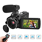 Video Camera Camcorder,Aitechny Camera Camcorder Full HD 1080P Digital Camcorder 24MP 3.0 Inch LCD Touch Screen IR Night Vision Camcorders YouTube Vlogging Camera with Microphone and Remote Control