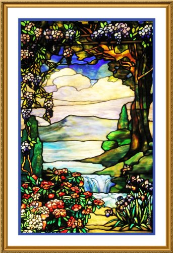 Landscape With Waterfall By Louis Comfort Tiffany Counted
