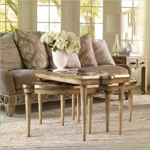 Hooker Furniture Sanctuary Mirrored L and R Bunching Tables in Surf-Visage