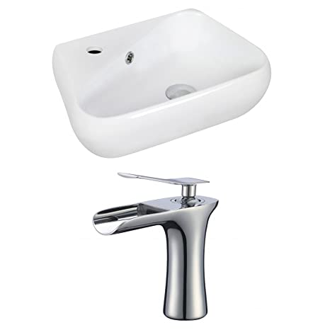 "Jade Bath JB-17921 19"" W x 11"" D Unique Vessel Set with Single Hole CUPC Faucet, White"