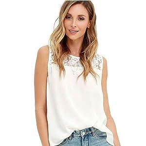 TAORE Women Chiffon Lace Sleeveless Shirt Blouse Casual Tank Tops (L, White)