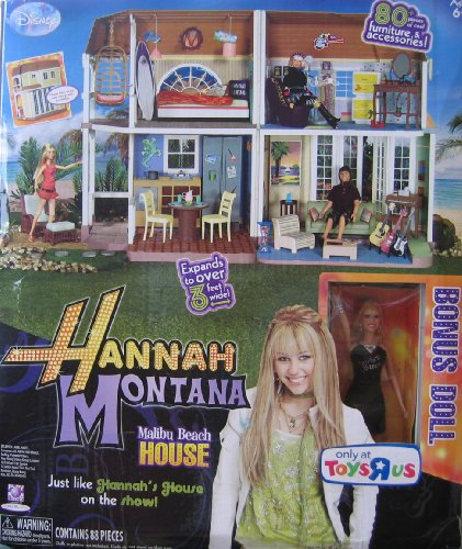 Disney Hannah Montana Malibu Beach House Playset w 88 Play Pieces (2008 ToysRUs Exclusive) (Malibu Beach House compare prices)
