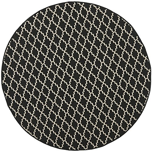 "Safavieh Courtyard Collection CY6919-226 Black and Beige Indoor/ Outdoor Round Area Rug (710"" Diameter)"