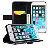 EasyAcc® iphone 6 (4.7) PUレザーケース 横開き 手帳型 スタンド仕様 カード収納付 高品質カバー;カラー:ブラック