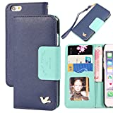 iPhone 6 Case,(4.7)By HiLDA,Wallet Case,PU Leather Case,Credit Card Holder,Flip Cover Skin[Blue]