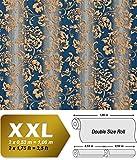 Blumen Tapete XXL Luxus Vliestapete EDEM 921-37 Hochwertiges florales Barockmuster blau gold silber glitzer 10,65 m2