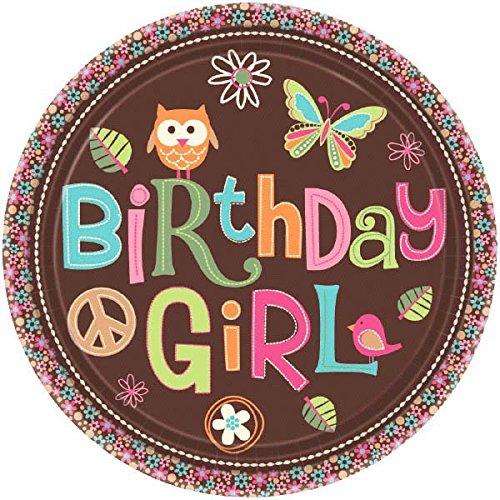 Amscan Hippie Chick Birthday Party Dessert Plate (8 Piece), Multi, 7""