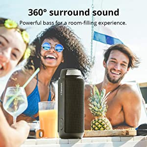 Portable Bluetooth Speaker with Superior Stereo Sound, Tronsmart T6 25W Dual-Driver 15-Hour Playtime Wireless Speaker with Deep Bass, Hands-Free Calling, Perfect for Home, Outdoors, iPhone, Android (Color: Black)