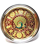 Divine Miracles Stainless Steel Meenakari Peacock Design Pooja Thali ( Multicolor )