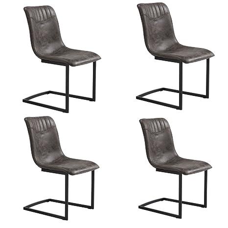 Conjunto de 4 sillas de comedor de diseño PRINCE en fuerte piel sintética en color gris fuerte
