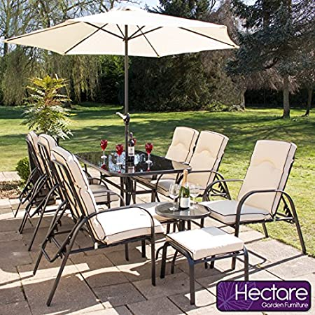 Hadleigh Reclining 6 Seater Garden & Patio Outdoor Furniture Set with Coffee Table and Stools by Hectare