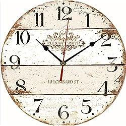 MATE 12-Inch Vintage Wall Clock Large Decorative Battery Quartz Analog Movement Round Wood Kitchen Clock, Colorful Dial Arabic Numerals Cafe de la Tour Paris France Living Room Wooden Wall Clock