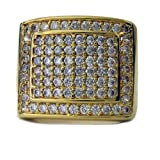 Mens DOUBLE SQUARE OF ICE Micropave A Class 24k Gold Plated HipHop Bling Ring