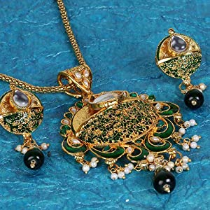 Deccan Pearls Women Girls Pendants and Sets BIG 57 Gold Green