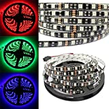 MIYOLE RGB LED Light Strips 300LEDs 5050 LED Tape Black PCB Waterproof DC12V Christmas Tree Lights Pack of 5M(16.4FT)