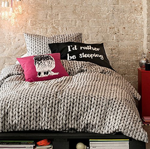 Cable Knit Pattern Cotton Duvet Quilt Cover Modern 3pc Set Queen or King Gray Knit Print (Queen)