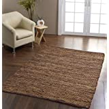 Madras Leather Hemp Rug Brown