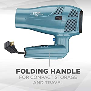 Conair 1875 Watt Cord Keeper Hair Dryer with Folding Handle and Retractable Cord, Travel Hair Dryer, Teal (Color: Blue, Tamaño: 9.60in. x 6.30in. x 4.10in.)