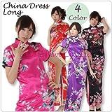 【コスプレ】ロングチャイナドレス・半袖・和柄 コスチューム カラー:黒/ローズ