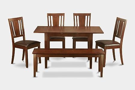 East West Furniture NODU6C-MAH-LC 6-Piece Dinette Table Set