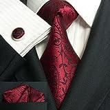 (30C,赤ワイン)高級な紳士のシルクのネクタイLandisun :ネクタイ+カフスボタン+ハンカチ 3点セット
