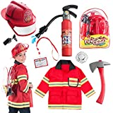 Born Toys 8 PC Premium Washable Kids Fireman Costume and Complete Firefighter Accessories