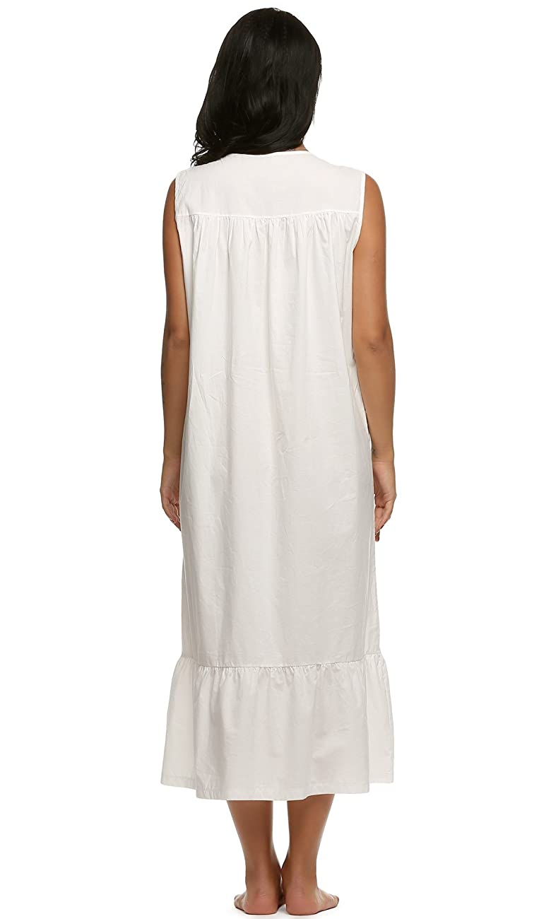 Ekouaer Womens Nightgown 100% Cotton Victorian Long Sleeveless Sleepwear S-XL 1