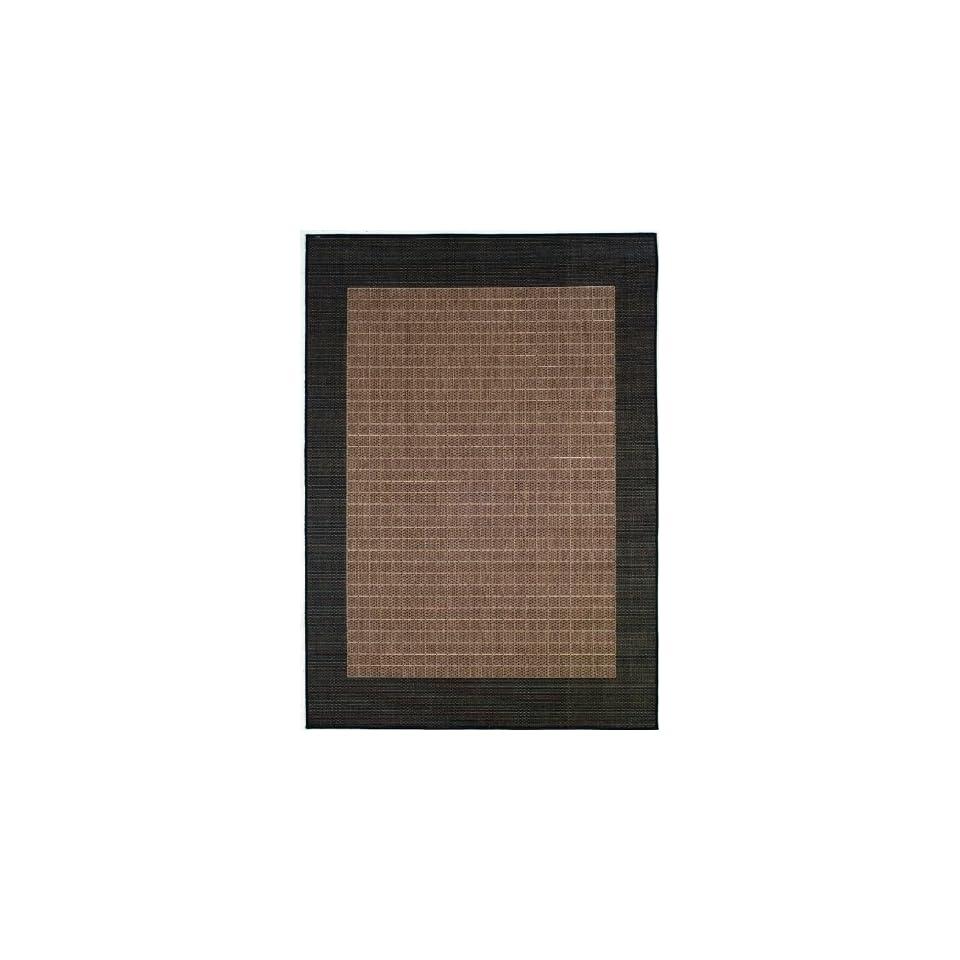 "Couristan Recife Checkered Field 1005/2500 2'3"" x 7'10"" Cocoa / Black Runner Area Rug"