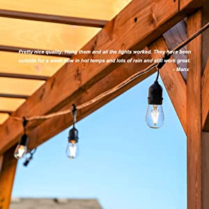 Classyke 48ft LED Outdoor String Lights for Patio Garden Yard Deck Cafe Wedding Dimmable Weatherproof Commercial Grade [UL Listed] (Color: Warm White, Tamaño: 48ft LED Lights)