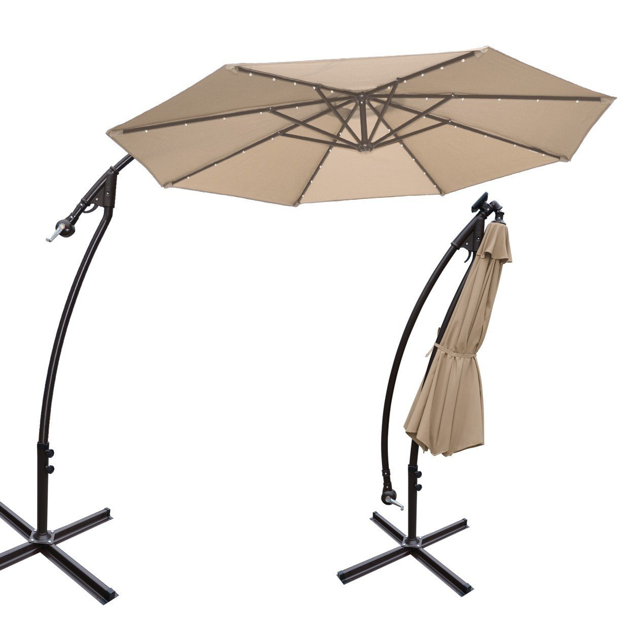strong camel 9u0027 solar led cantilever umbrella with stand