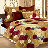 #10: Story@Home Vivid Roses Cotton Double Bedsheet with 2 Pillow Covers - Cream