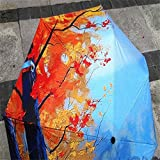 Oil Painting Three Folding Travel Umbrella Autumn Maple Leaves Printing Men/Women's Mini Portable Colorful Umbrellas Windproof (Maple and sky)
