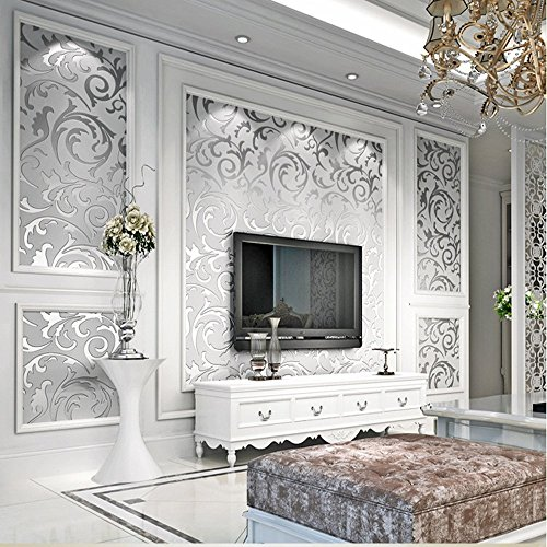 qihang haute qualite victorien de damasse papier peint texture non tisse materiel gris argente 0. Black Bedroom Furniture Sets. Home Design Ideas