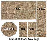Indoor-Outdoor Winter Wheat, 5 Piece Set Patio Rug's, (6'x9', 2'6