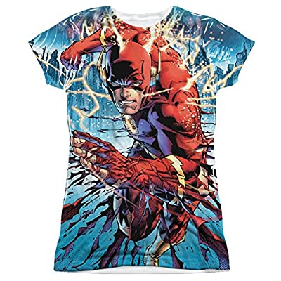 The Flash Ripping And Tearing Junior Fit All Over Print Front T-Shirt