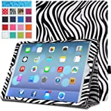 MoKo Apple iPad Air Case - Slim Folding Case for Apple iPad 5 / iPad Air (5th Gen) Tablet, Zebra BLACK (With Smart Cover Auto Wake / Sleep)