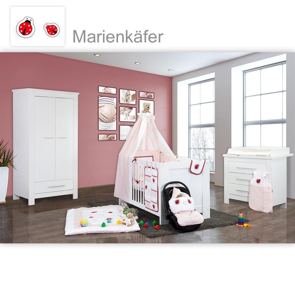 Babyzimmer Enni in weiss 21 tlg. mit 2 türigem Kl. + Marienkäfer, Rot