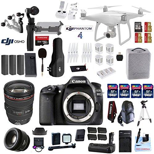 Professional Photographer / Videographer Kit – DJI Phantom 4 + OSMO 4K Starter Kit + Canon 80D DSLR + Canon 24-105mm L USM (Glass Element) Lens + Canon 50mm 1.8 STM Fixed Zoom Video / Portrait Lens