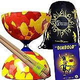 Juggle Dream Jester Diabolo Set Red/Yellow! With Wooden Diablo Sticks + Mr Babache Diabolo Book Of Tricks + Flames...