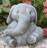 Steinfigur Elefant Steinguss Schiefergrau