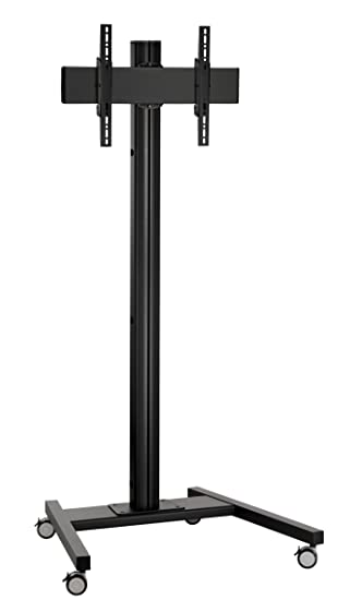 Vogels Single Pole Trolley Stand with Castors For up to 65 inch TVs - 1.8m - Black