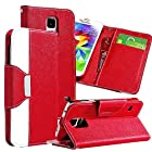 myLife (TM) Violet Ruby Red - Classic Design - Koskin Faux Leather (Card, Cash and ID Holder + Magnetic Detachable Closing + Hand Strap) Slim Wallet for NEW Galaxy S5 (5G) Smartphone by Samsung (External Rugged Synthetic Leather With Magnetic Clip + Internal Secure Snap In Hard Rubberized Bumper Holder)