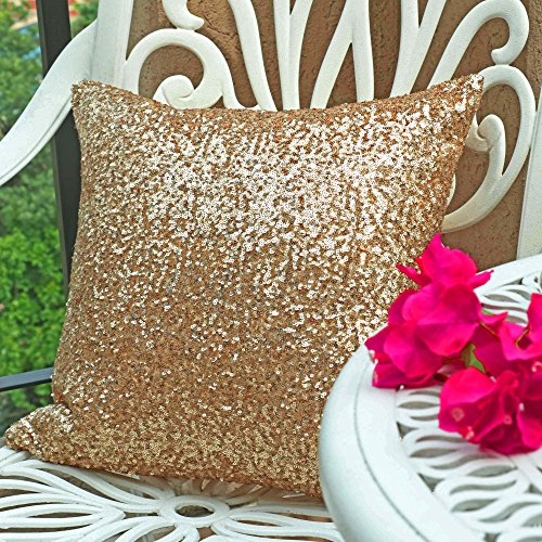 Pony Dance Stylish Solid Luxurious Sequins Cushion Cover for Party,18